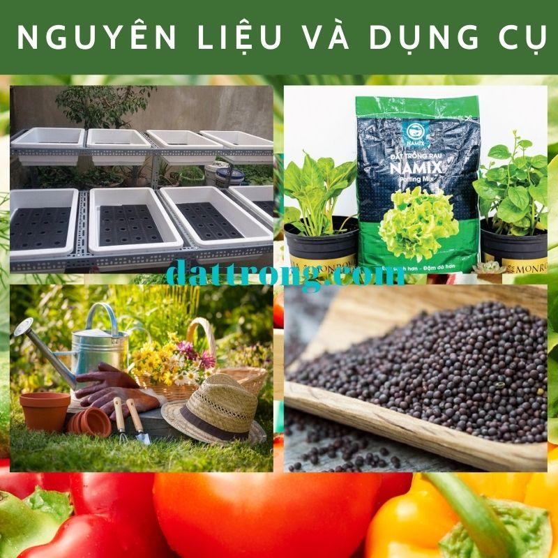 nguyên liệu và dụng cụ trồng rau trên sân thượng