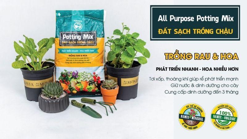 đất sạch trồng rau và hoa Namix
